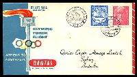 Lot 5256 [1 of 2]:1956 Olympic Torch Flight AAMC #1362 illustrated Qantas cover with Greek adhesives canceled 2 XI 1956 and backstamped with Melbourne Stadium cancel 22 NOV 1956.