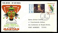 Lot 4826 [1 of 2]:1967 Phiippines - Papua New Guinea AAMC #1609 illustrated Qantas cover with adhesives tied by Manila cds 15SEP 1967.