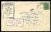 Lot 5463:1945 Presbyterian and Methodist Welfare Association Cover to Broken Hill with 4d Koala tied by Mil.P.O.Chernside Qld cds 14 MR 45 and with boxed AUSTRALIAN MILTARY FORCES PASSED BY CENSOR 675 handstamp at lower left.