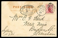 Lot 4213 [1 of 2]:1904 usage of PPC Grand Arch Jenolan NSW with NZ 1d Dominion tied by Sydney Duplex De 30 04 with very fine SHIP LETTER 1d LATE FEE oval handstamp at left.