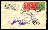 Lot 5092 [1 of 2]:1936 Registered Cover with KGV 1d green and KGV 2d red (2) tied by Melbourne cds 9 JY 36 with AR in oval handstamp at lower right and boxed UNCLAIMED AT SANDRINGHAM in black, also RETURNED TO SENDER pointing finger handstamp in purple, nice cover.