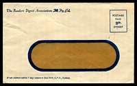 Lot 1124:1950s Window Faced Envelope for The Reader's Digest Association P/L with Postage Paid 3d Sydney printed box, unusual mint example.