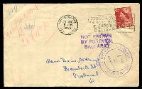 Lot 5163 [1 of 2]:1956 cover to Ballarat with NOT KNOWN BY POSTMEN BALLARAT in violet and fine double ring Dead letter Office Melbourne Examined by No1 cancel in violet.