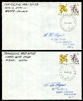 Lot 7272:North West: Peck #1NW11b pair of covers with adhesives cancelled by TPO 1 NTH WEST Up and the other down. (2)