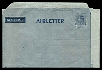 Lot 680:1945-50 7d KGVI New Layout BW #A3 on gray, headed AIRLETTER.