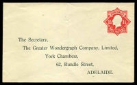 Lot 694:1924-28 1½d Red KGV Star BW #EP28(2) blue within, with Printed address for The Greater Wondergraph Company Ltd of Adelaide.