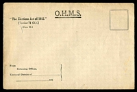 Lot 4253:1915 OHMS stampless envelope for Returning Officers issued under 'The Elections Act of 1915' mint, unusual survivor.