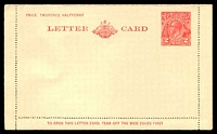 Lot 631:1930-39 2d Red KGV Sideface New Design 'TO OPEN THIS LETTERCARD' BW #LC64 on white stock.