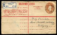 Lot 493 [1 of 2]:1942-48 5½d Brown KGVI Oval Text in Red BW #RE31 with red text, square flap at left, used from Welshpool in 1946.