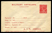Lot 908:1916 Australian Imperial Force BW #ME4 1d red KGV envelope with A.I.F. ABROAD at base on buff stock, fine and fresh.