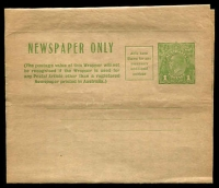 Lot 712:1931-38 1d Green KGV Sideface Additional Postage Box BW #W19 Cat $40.