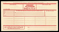 Lot 685:1947 Commonwealth of Australia Urgent Telegram red on cream Form T.G.41A, unused.
