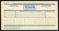 Lot 4454:1947 Commonwealth of Australia Prepaid Reply Telegram blue on cream Form T.G. 43, unused.