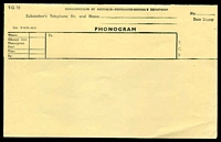 Lot 686:1951 Commonwealth of Australia Phonogram form black on yellow Form T.G. 70, unused.