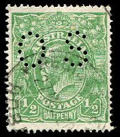 Lot 2654:½d Green - BW #65ba perf 'OS'.