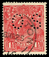 Lot 2788:1½d Red Die I - BW #90ba perf 'OS'