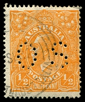 Lot 211:½d Orange - BW #66ba perf 'OS'.