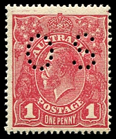 Lot 174:1d Red Rough Paper - BW #72bb carmine-rose perf 'OS'.