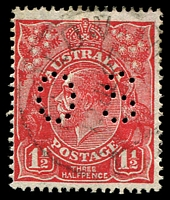Lot 543:1½d Red Die II - BW #91bb perf 'OS'.