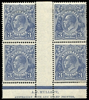 Lot 355:3d Blue Die Ia - BW #106za Mullett Imprint block of 4 (1**).