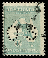 Lot 110:1/- Emerald - BW #31ba perf 'OS'.