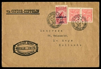 Lot 3275 [1 of 2]:1931 Condor-Zeppelin cover to Holland with adhesives incl 2$500 Zeppelin Opt tied to special Condor-Zeppelin cover by Rio De Janeiro cancel 22OUT 31 with Fredrichshafen backstamp 28 10 31, nice Zeppelin cover.