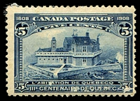 Lot 3316:1908 Quebec Tercentenary SG #191 5c indigo