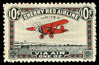 Lot 3586:1920s Semi Official Airmail 10c Cherry Red Airline label, mint no gum.