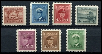 Lot 3318:1942-48 War Effort Perf 12 SG #375-82 1c to 8c red brown (ex 3c carmine lake ). (7)
