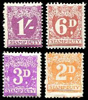 Lot 5774:1940s Stamp Duty No Wmk: 2d, 3d, 6d & 1/-, all **. (4)