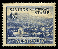 Lot 1:Australia: 1945 6d blue Savings Certificate Stamp with view War Memorial & Mt Ainsley Canberra, minor adhesion on reverse does not detract from this scarce issue.