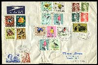 Lot 18328:1967 Large Cover to South Africa with Australian adhesives 1966 Birds set, 1966 Fish set and 40c & 50c Navigators all tied by Cocos cds 20FE67, a bit crumpled but interesting item.