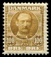 Lot 3395:1907 King Fredrick VIII SG #130 100ö yellow brown.