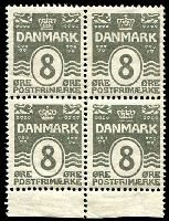 Lot 3887:1913-30 Definitives SG #181 8ö gray marginal block of 4 (2**).