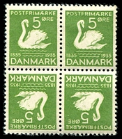 Lot 3989:1935 Hans Christian Andersen SG #292a 5ö green tête-bêche block of 4 (3**) from booklet sheet, Cat £29.
