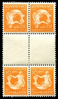 Lot 3669:1935 Hans Christian Andersen SG #294a 10ö orange gutter tête-bêche block of 4 (hinged in gutter) from booklet sheet, Cat £36