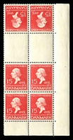 Lot 3670:1935 Hans Christian Andersen SG #295a 15ö carmine tête-bêche gutter block of 6 from booklet sheet, Cat £72.
