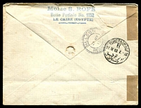 Lot 3899 [2 of 2]:1913 Registered usage of 1p Embossed envelope to New Zealand with additional adhesive tied by Cairo cds 10 IV 13 and black registration label at lower left, few minor faults.