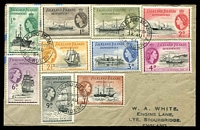 Lot 3441:1954 cover to England with Ship set to 1/- tied by Falkland Island Dependency South Georgia cds 26AU54.