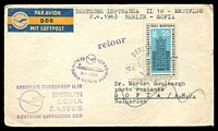Lot 4098 [1 of 2]:1963 Berlin - Sofia cover with Special cancel and two different cachets 2 .4. 1963.