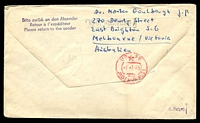 Lot 3638 [2 of 2]:1965 Berlin - Moscow cover with adhesives tied by Special cancel with violet cachet at left 1.7.1965.