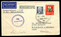 Lot 19395 [1 of 2]:1965 Berlin - Moscow cover with adhesives tied by Special cancel with cachet in violet at left 1.7.1965.