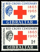 Lot 3825:1963 Red Cross SG #175-6 set. (2)