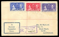 Lot 3549 [1 of 2]:1937 illustrated Registered cover with KGVI Coronation set tied by light Ocean Island cds 12 My 37.