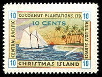Lot 4107:1934 10c multicoloured Cocoanut Plantations Mail Boat label fine mint.