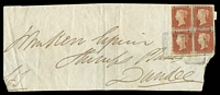 Lot 3683:1846 Large Piece addressed to Dundee with 1841 1d QV on blued paper imperf block of 4 tied by Scottish numeral cancel 280 of Perth with partial backstamp Dundee NO12/1846, attractive multiple.
