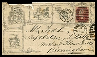 Lot 4080:1867 advertising envelope with 1d red tied by London duplex MR 28 67, great envelope with many illustrations unfortunately roughly opened, missing part of top at left and back flap.