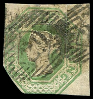 Lot 4123:1847-54 QV Embossed SG #54 1/- pale green, cut to shape at lower left, few minor faults but collectable example Cat £750.