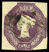 Lot 4050:1847-54 QV Embossed SG #60 6d purple wmk inverted & reversed, Cat £900