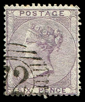 Lot 4051:1855-57 QV Wmk Emblems SG #70 6d lilac, Cat £95